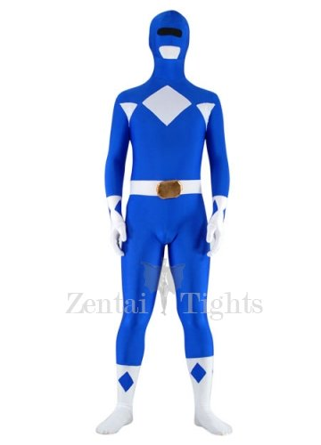 Blue with White Lycra Spandex Super Hero Unisex  Morph Suit Zentai Suit