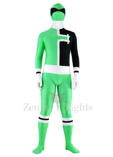 Green with White And Black Lycra Spandex Unisex Morph Suit Zentai Suit
