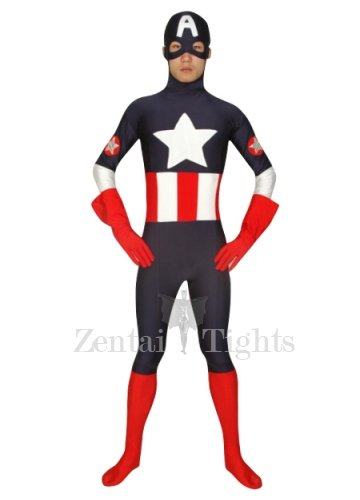 Indigo with Red Super Hero Lycra Spandex Morph Suit Zentai Suit
