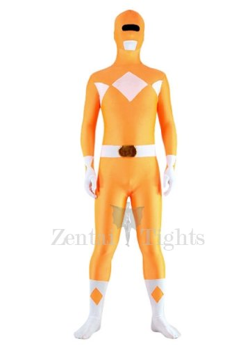 Orange And White Lycra Spandex Unisex Super Hero Morph Suit Zentai Suit