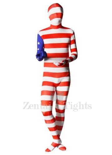Pattern of American Flag Unisex Lycra Morph Suit Zentai Suit