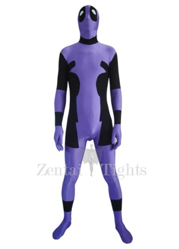 Purple And Black Lycra Spandex Unisex Morph Suit Zentai Suit