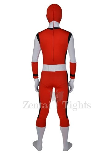 Red with Black White Lycra Morph Suit Zentai Men\'s Suit