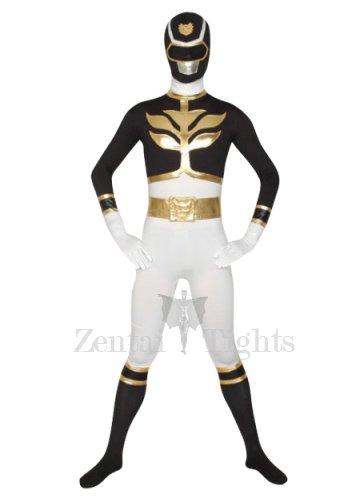 White And Black Super Hero Lycra Morph Suit Zentai Suit