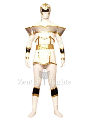 White And Gold Lycra Spandex Super Hero Morph Suit Zentai Suit