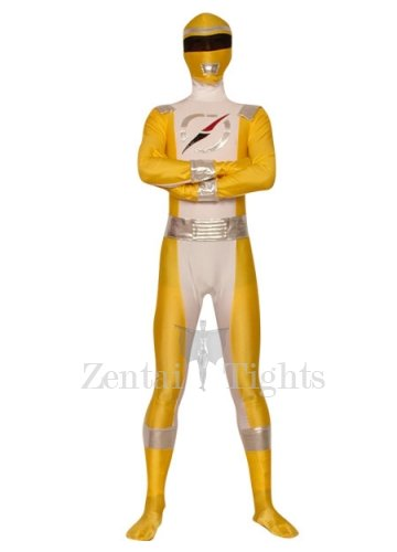 Yellow And Silver Lycra Spandex Super Hero Costume