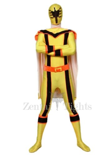 Yellow with Black Lycra Spandex Super Hero Morph Suit Zentai Suit