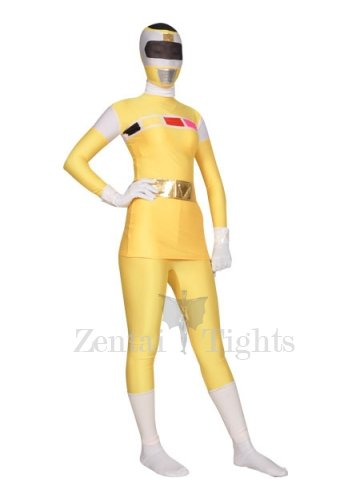 Yellow with White Shiny Metallic Lycra Super Hero Morph Suit Zentai Suit