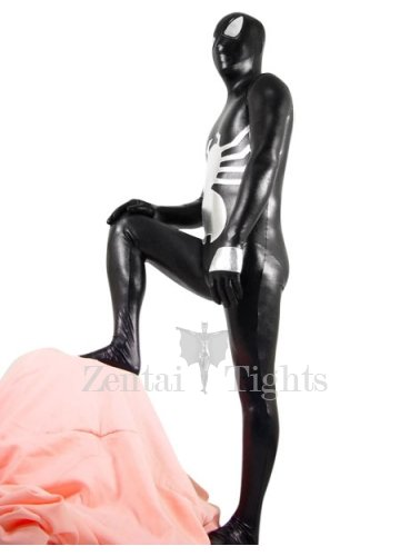 Black And Silver Shiny Metallic Spiderman Morph Suit Zentai Suit