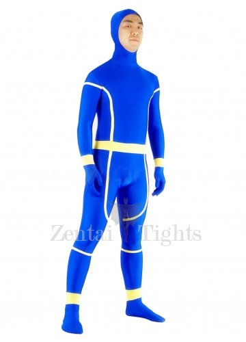 Blue and Yellow Lycra Spandex Unisex Morph Suit Zentai Suit