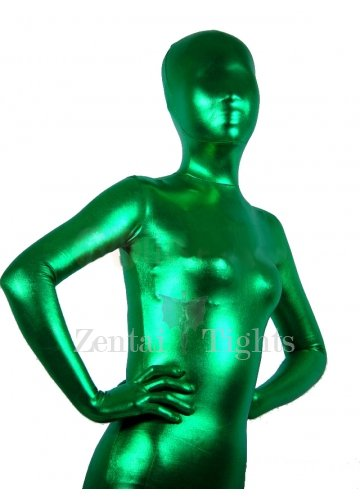 Cool Green Shiny Metallic Unisex Morph Suit Zentai Suit