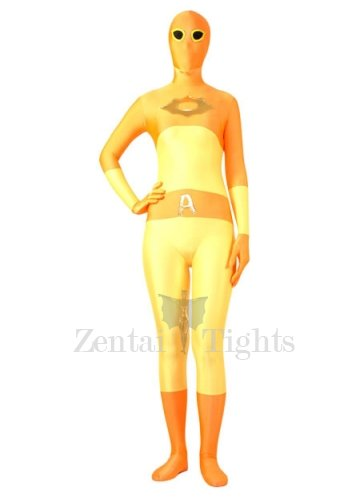 Deep And Soft Yellow Lycra Spandex Super Hero Morph Suit Zentai Suit