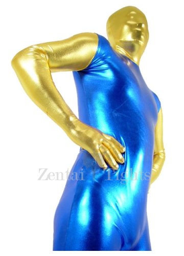 Gold And Blue Shiny Metallic Morph Suit Zentai Suit