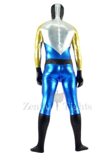 Gold Silver Black And Blue Shiny Metallic Super Hero Morph Suit Zentai Suit