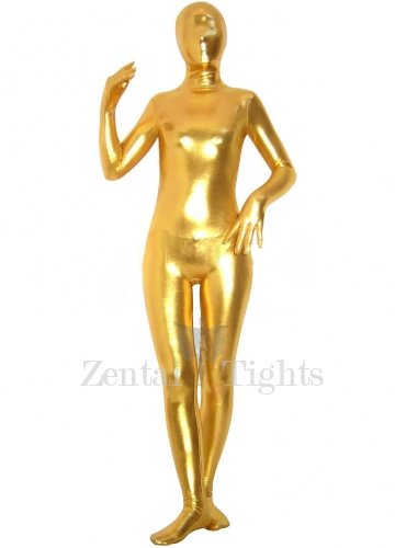 Golden Shiny Metallic Unisex Morph Suit Zentai Suit
