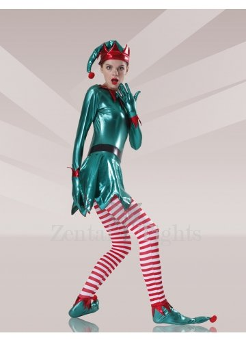 Green Red White Shiny Metallic Lycra Stripes Unisex Morph Suit Zentai Suit