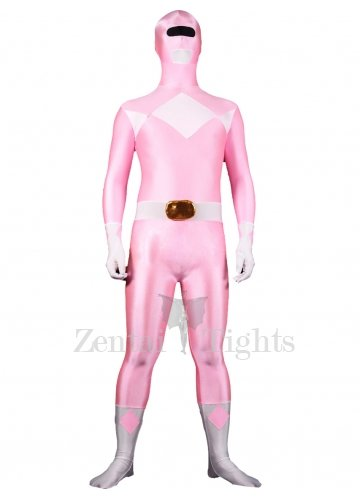Pink with White Lycra Spandex Unisex Morph Suit Zentai Suit