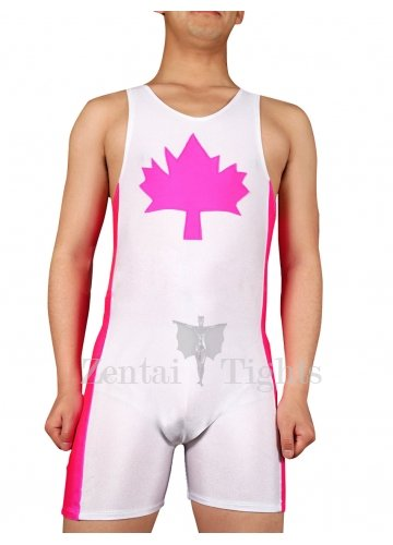 Purple Maple Leaf Lycra Spandex Half Length Sleeveless Leotard  Catsuit