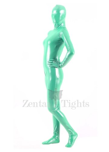 Quality Green Silver Dot PVC Breathable Unisex  Morph Suit Zentai