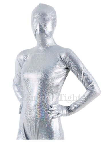 Quality White Shiny Metallic Unisex Breathable Morph Suit Zentai