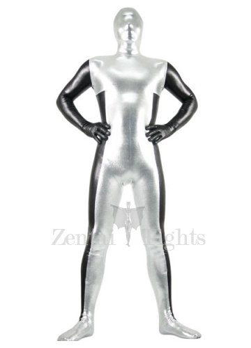 Silver And Black Shiny Metallic Morph Suit Zentai Suit