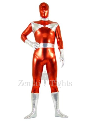 Silver And Red Shiny Metallic Morph Suit Zentai Suit