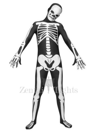 Top Black And White Lycra Spandex Unisex Morph Suit Zentai Suit