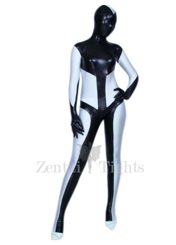 Black And White Shiny Metallic Unisex Morph Suit Zentai Suit