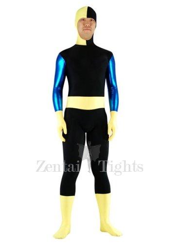 Black And Yellow Lycra Spandex Shiny Metallic Morph Suit Zentai Suit
