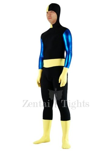 Black And Yellow Lycra Spandex Shiny Metallic Morph Suit Zentai Suit