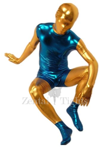 Blue And Gold Shiny Metallic Morph Suit Zentai Suit