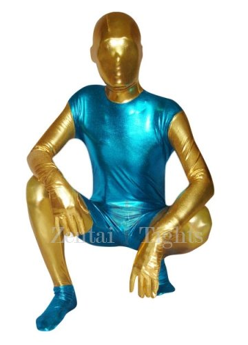 Blue And Yellow Unisex Shiny Metallic Morph Suit Zentai Suit