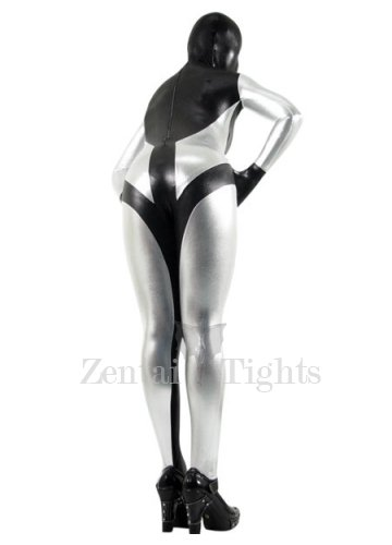 Classic Black And Silver Shiny Metallic Morph Suit Zentai Suit