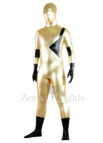 Gold And Black Shiny Metallic Lycra Spandex Morph Suit Zentai Suit