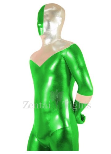 Green And Silver Shiny Metallic Super Hero Morph Suit Zentai Suit