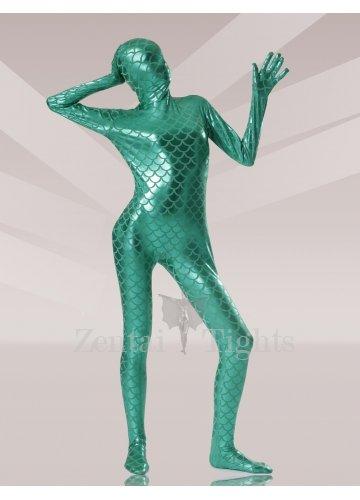 Green Fish Scale Shiny Metallic Morph Suit Zentai Suit