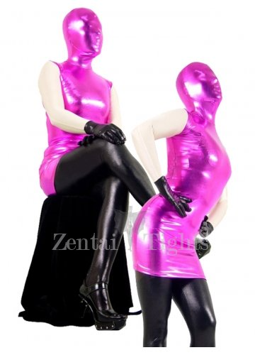 Pink and Black Shiny Metallic Morph Suit Zentai Suit with White Arms Black Hands