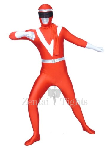 Red And White Lycra Shiny Metallic Super Hero Morph Suit Zentai Suit