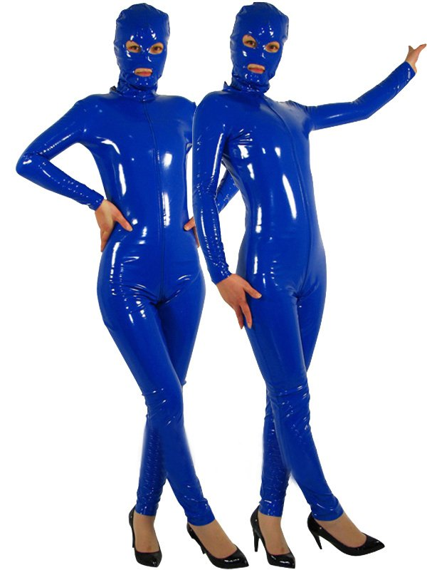 Royal Blue Full Body Morph Suit Zentai Tights Front Open PVC Unisex Catsuit
