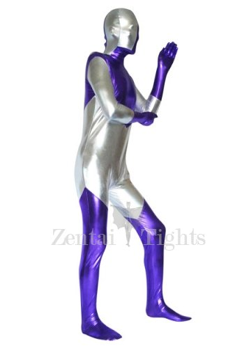 Silver And Purple Shiny Metallic With Spandex Unisex Morph Suit Zentai Suit