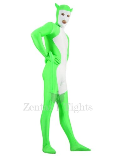 White And Green Shiny Metallic Morph Suit Zentai Suit