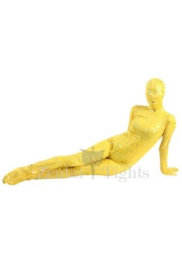 Yellow Shiny Metallic Golden Stripes Breathable Elastic Morph Suit Zentai