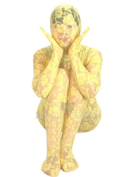 Yellow Transparent Lace Velour Morph Suit Zentai Suit