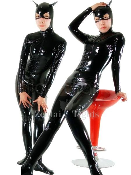 Black Devil Front Open PVC Unisex Catsuit
