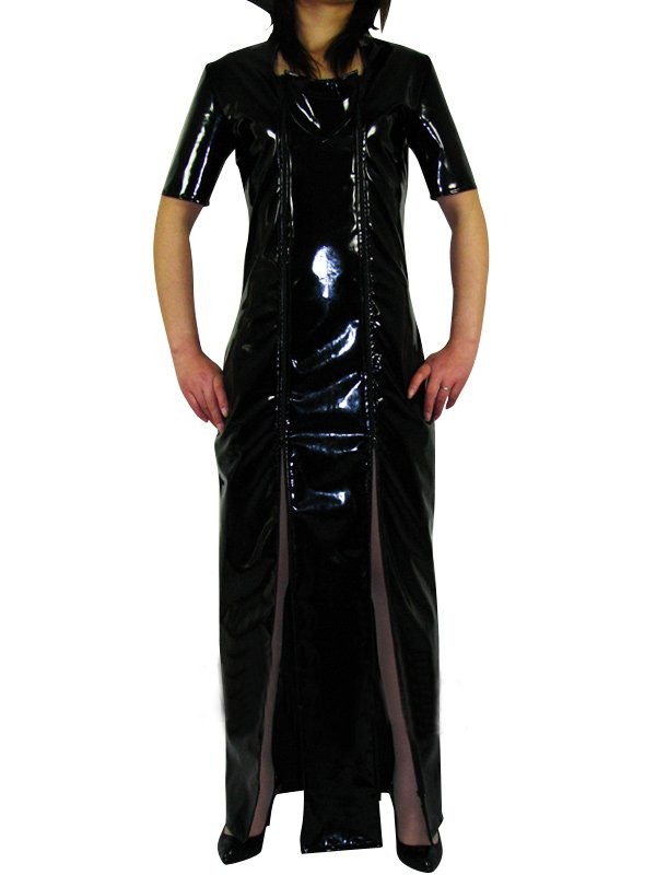 Black Short Sleeves PVC Maxi Dress