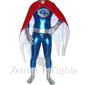 Fantastic Four Shiny Metallic Catsuit with PVC Cape