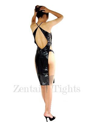 Superior Black Shiny Metallic Sexy Dress