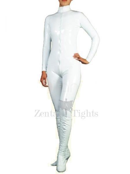 White PVC Front Open Unisex Catsuit
