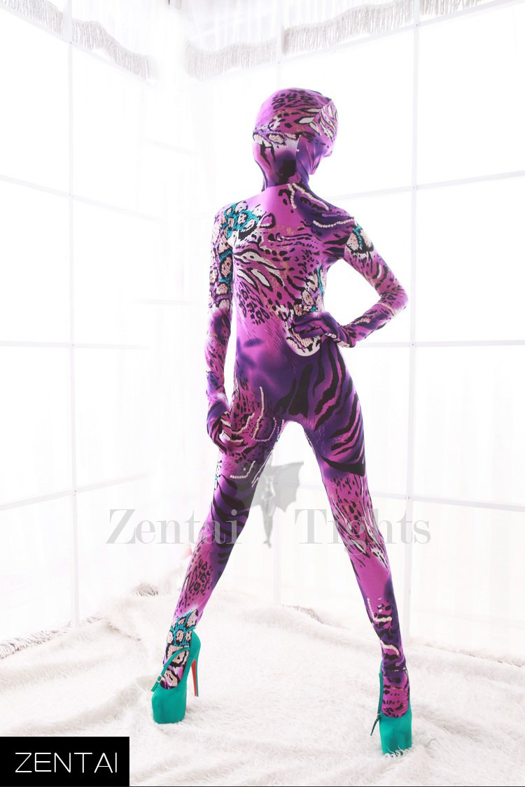 Pink and Purple DuPont Animal Pattern Morph Suit Zentai Catsuit Tights