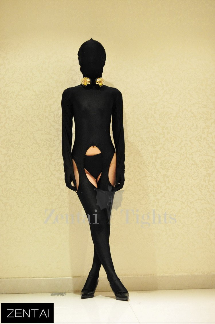 Sexy Black Tights Chest Decoration Morph Suit Zentai Suit Costume